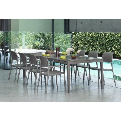 Set tavolo Rio 210 colore tortora allungato misura 100 x 280 x h76 con 8 sedie Riva