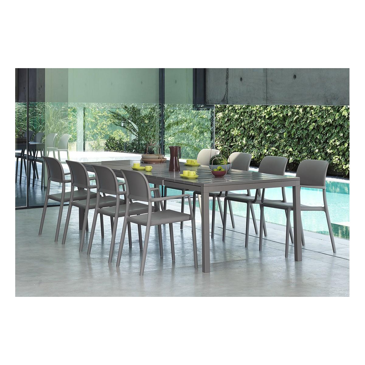Set tavolo Rio colore tortora allungato misura 100x280h76 con 8 sedie Riva
