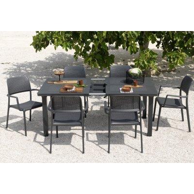 set tavolo Levante con 6 sedie bora colore antracite