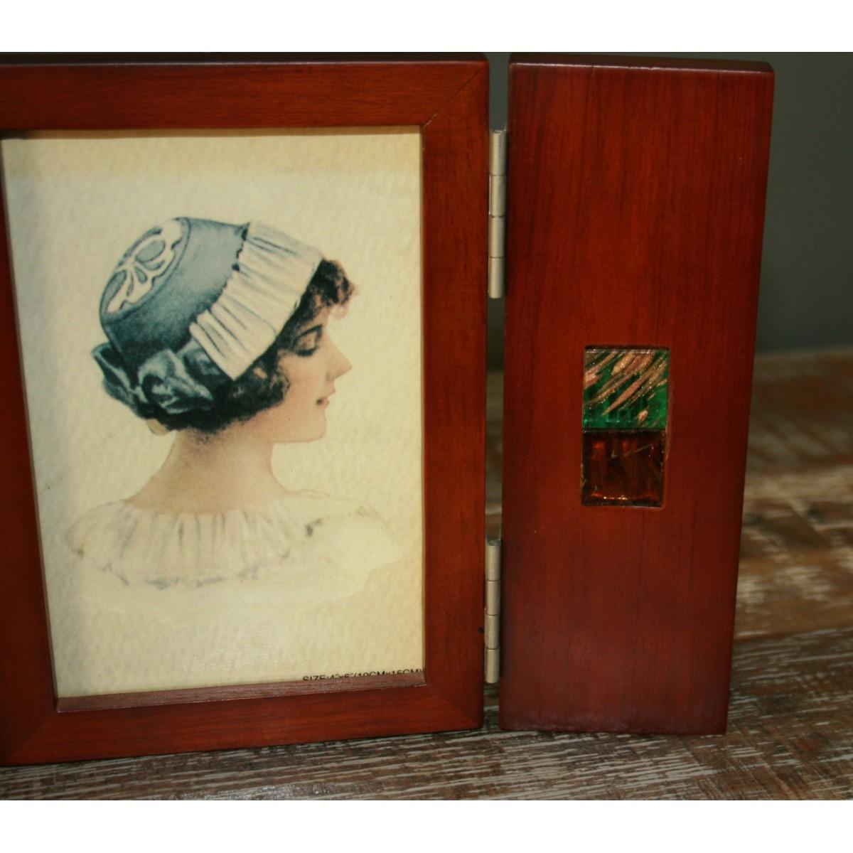 Porta foto in legno a forma di separè