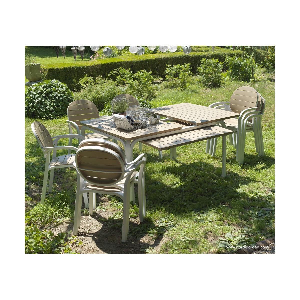 set tavolo Alloro e sedie Palma bianco tortora