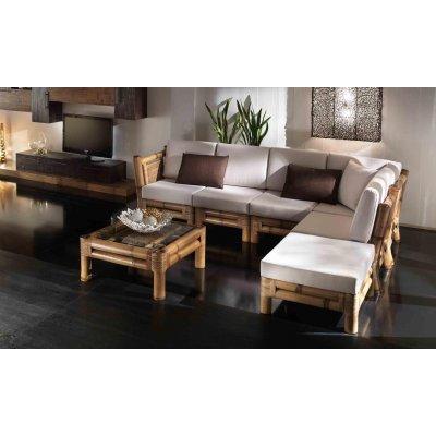 composizione Kyoto: modulo angolo e terminale modulo centrale tavolino e poof - tessuto import