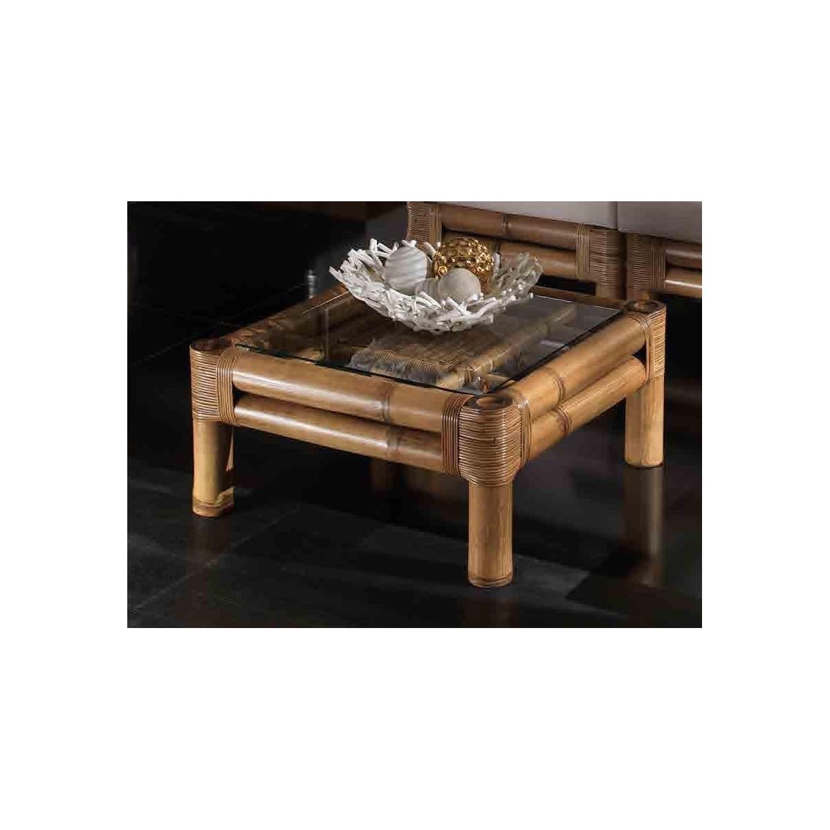 tavolino Kyoto con vetro - miele antico