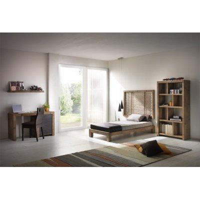 testiera Bandung Bassa 145, giroletto Essential singolo, libreria Essential 8 vani, sedia e scrivania Hotel