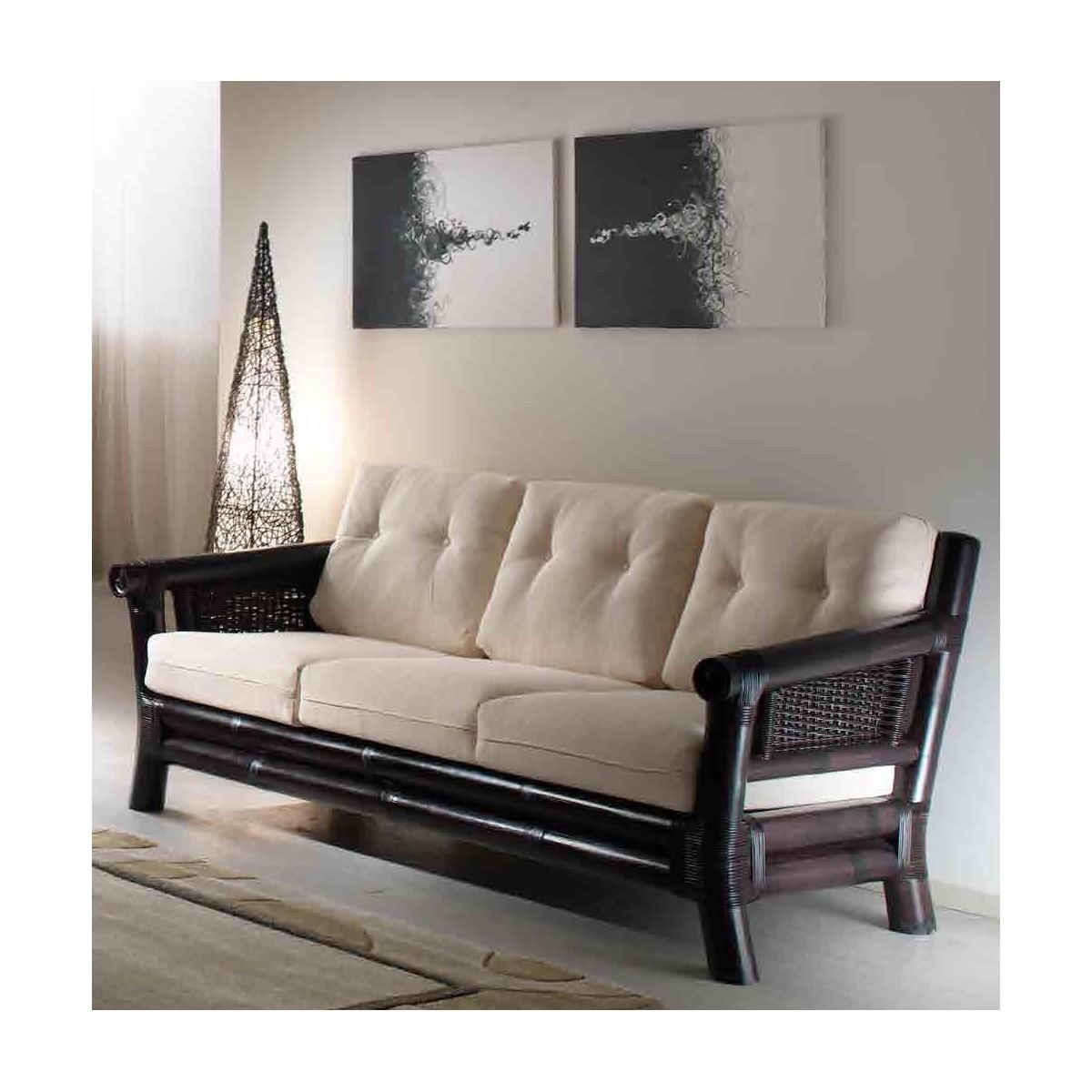 divano 3 posti Osaka, colore nero, tessuto importo