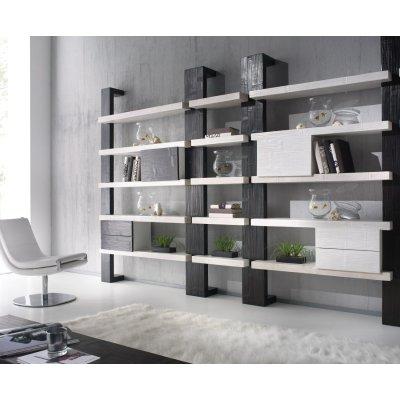 montante laterale e centrale libreria Light, mensole Essential e moduli Light con anta e con due cassetti