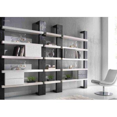 montante laterale e centrale serie libreria Light,moduli Light 2 cassetti e 1 anta.