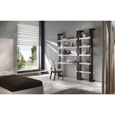 moduli montanti Light, mensole Essential, piano libreria Light, sedia Tesla