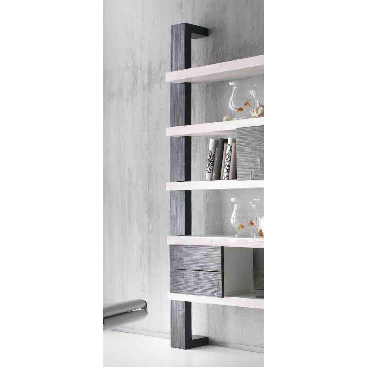 montante laterale e modulo 2 cassetti Light, mensole Essential