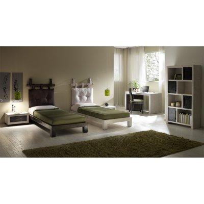 scrivania e cassettiera Essential, giroletto Essential, libreria Essential, testiera canna, cuscino per testiera canna.