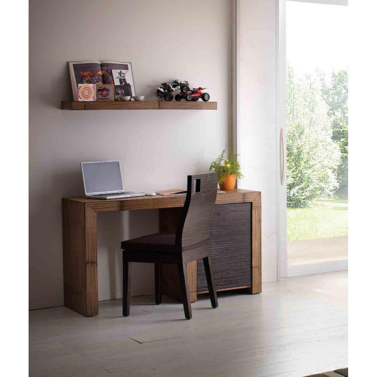 scrivania Hotel 1 anta miele antico e nero con sedia Hotel con foro