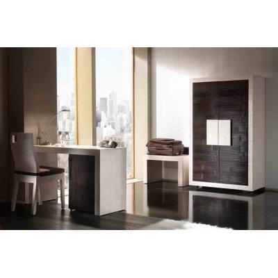 scrivania Dubai 1 anta bianco e nero con sedia Hotel con foro