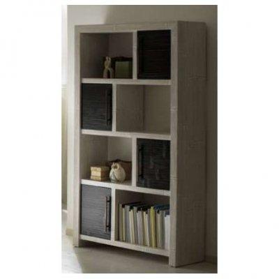 libreria Essential 4 ante nere con struttura bianca