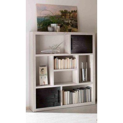 libreria Living bianca con ante nere