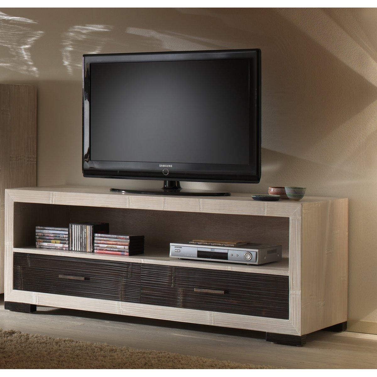 porta tv Diamante bianco e nero con 2 cassetti