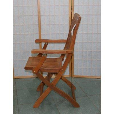 sedia pieghevole con braccioli in balau