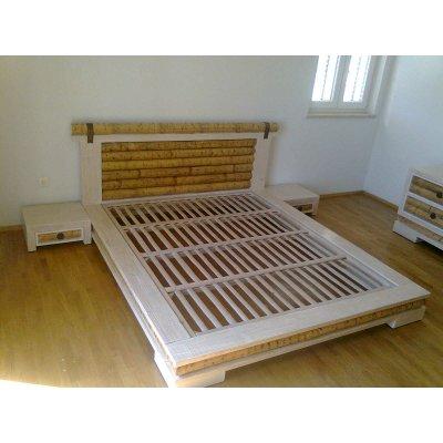 Rete fissa bambù su letto Isayto decapato bianco