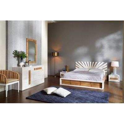 specchio Essential 110, giroletto, comò e comodini serie Light, testiera Sun