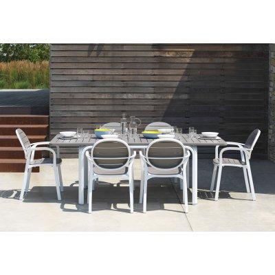 Tavolo Alloro 140 e sedie Palma colore bianco - tortora