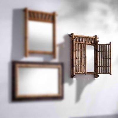 specchio Bambù con ante tinta miele