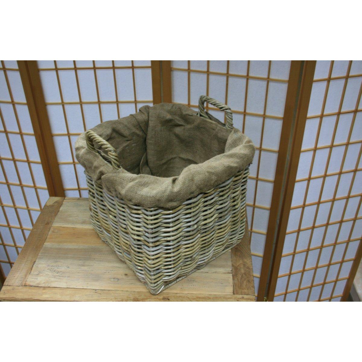 cesto portalegna Vicenza in giunchino grigio modello piccolo