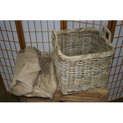 particolare set cesti portalegna Vicenza in giunchino grigio - piccolo