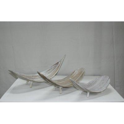 SEt 1/3 foglia onda in bambù decapato bianco