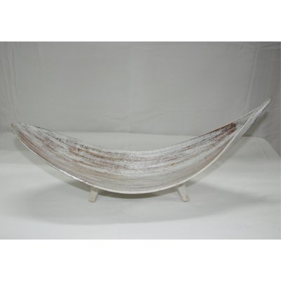 Foglia onda in bambù decapato bianco