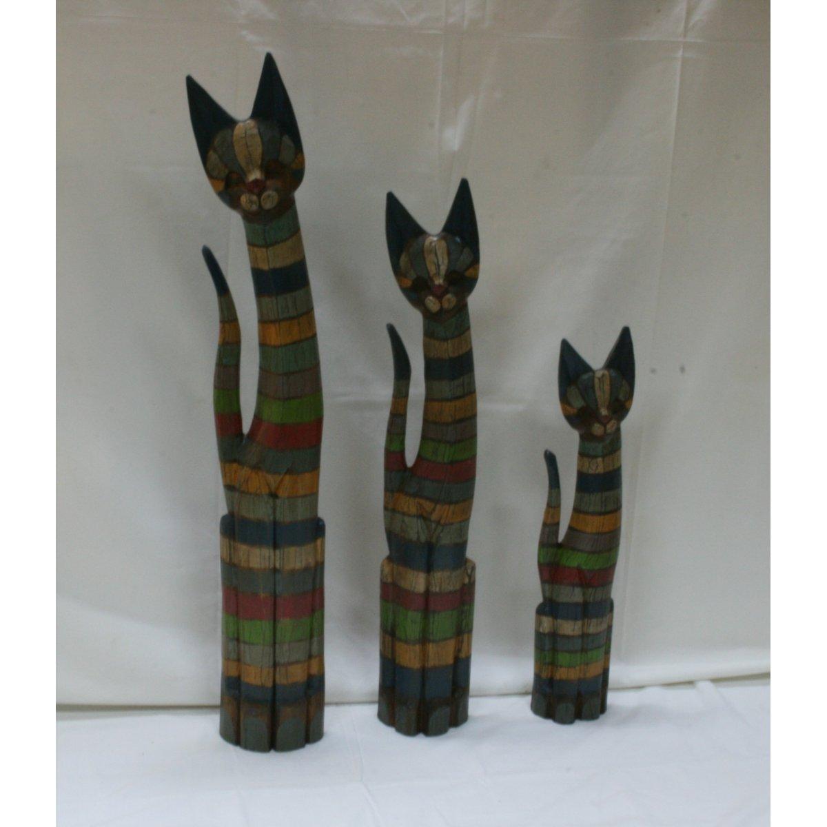 Set 1/3 gatti in legno a righe colorate