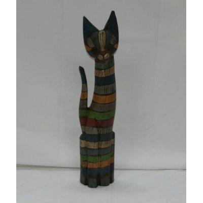 Gatto in legno a righe colorate