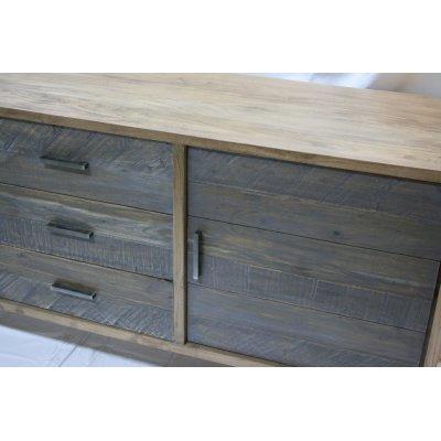 Credenza in legno di Acacia e Play Wood due ante e tre cassetti