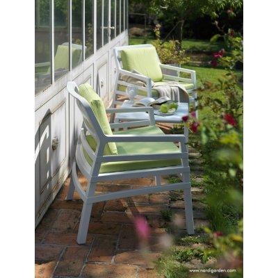 poltrona Aria colore bianco con cuscino tessuto acrilico Lime 061, Aria tavolino 60