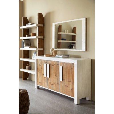 Credenza Essential 3 ante 170 bianco e miele antico, specchio Miring decapato bianco