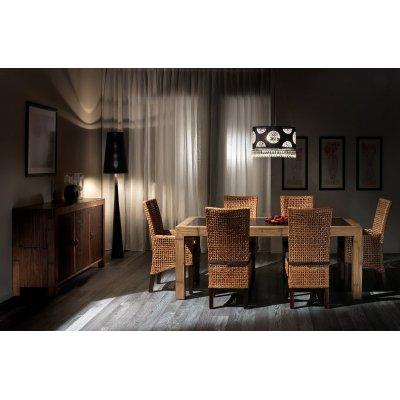 Credenza Essential 3 ante 170 miele antico e nero, tavolo Hotel 200, sedia Cemara