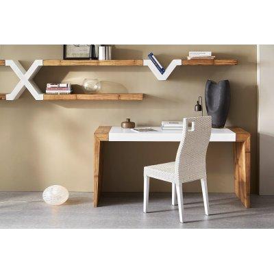 scrivania line 150 con gambe in miele antico e piano bianco