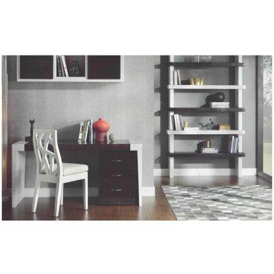scrivania line 150 con gambe in crash bambù bianco e piano in frassino nero con cassettiera Essential con ruote