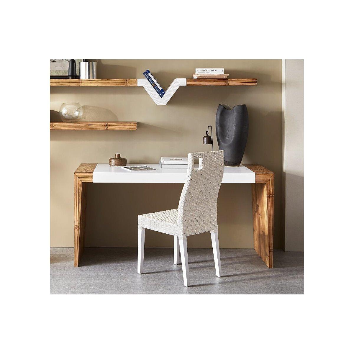 scrivania line 150 miele antico e bianco