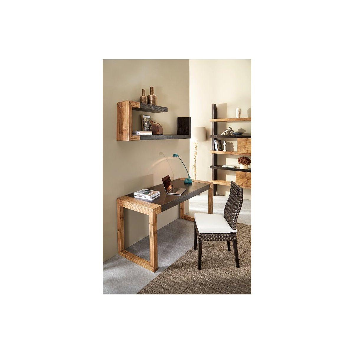 scrivania Stone con gambe miele antico e piano frassino nero