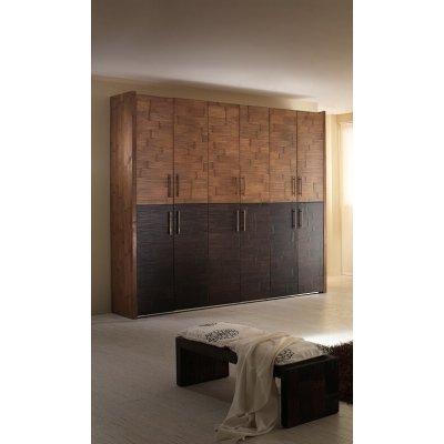 armadio Alum 6 + 6 ante, ante miele antico e nero, maniglie ottone brunito, fianchi in crash bambù miele antico