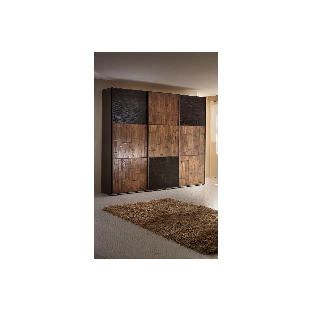 armadio Alum 3 ante scorrevoli con ante 3 pannelli neri e 6 pannelli miele antico, fianco in laminato rovere moro