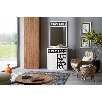 composizione credenza e specchio Contradiction e tavolino lato per poltrona Butterflay in giunco grigio