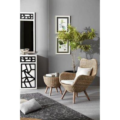 tavolino lato per poltrona Butterflay in giunco grigio