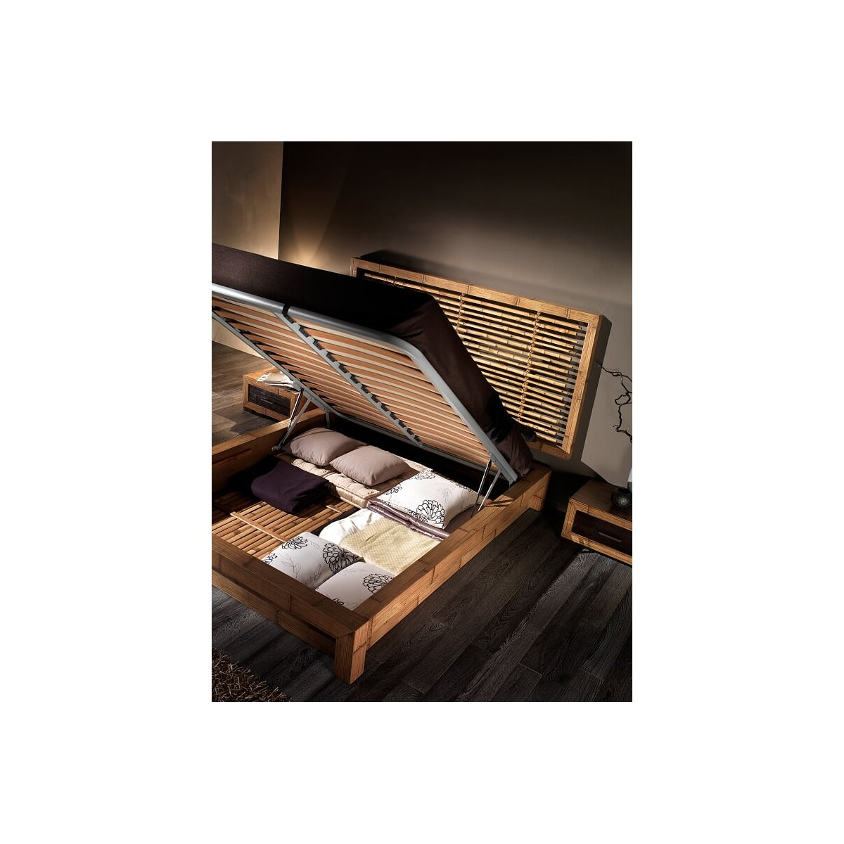 fondo per letto in bambù su giroletto Essential contenitore con testiera Bandung bassa
