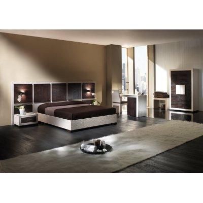 giroletto, testiera e scrivania serie Dubai, comodino Diamante, sedia e porta valige serie Hotel