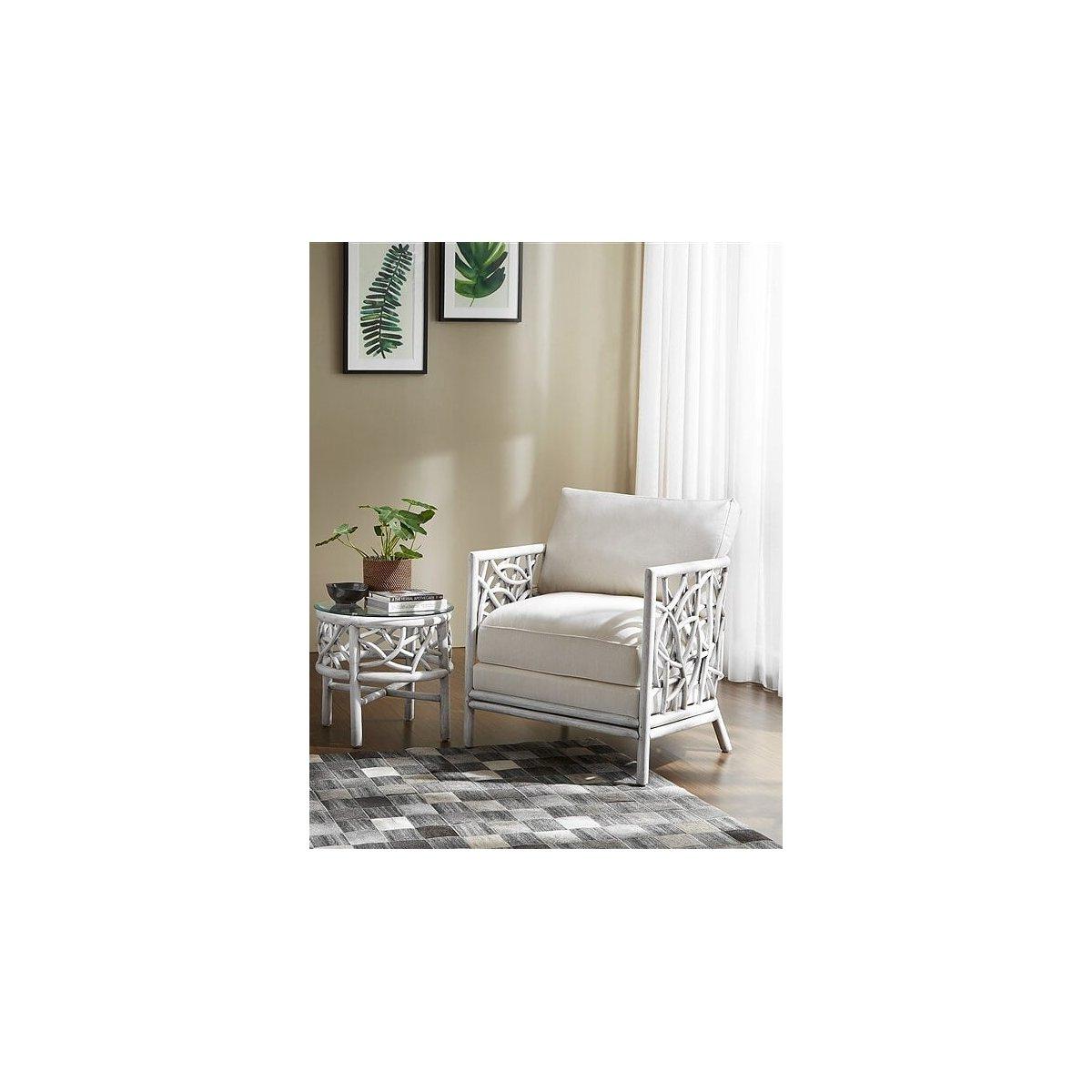 tavolino e poltrona modello Cobaya bianco anticato