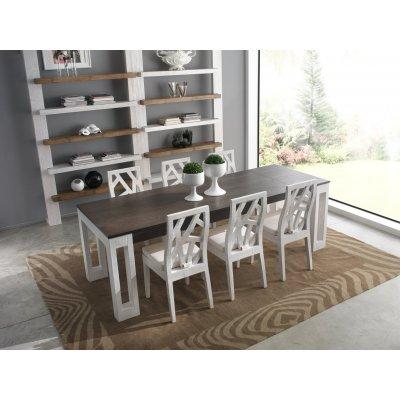 tavolo Light allungato bianco e nero
