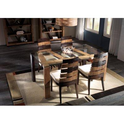 tavolo Cross miele antico e nero