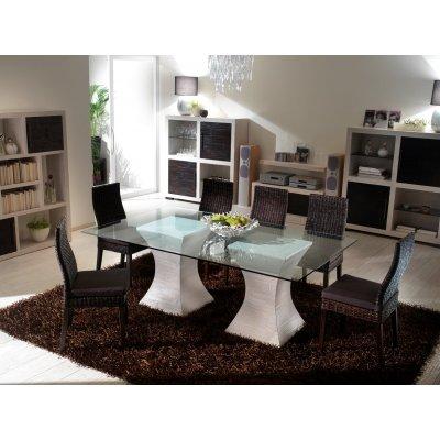 base tavolo Clessidra con piano vetro 100 x 200