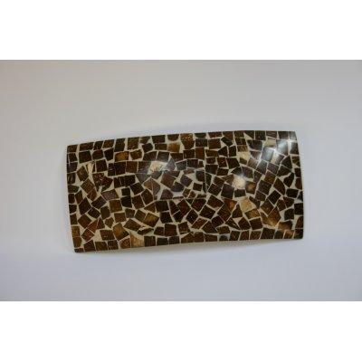 vassoio rettangolare con mattoncini in madreperla e cocco - fondo