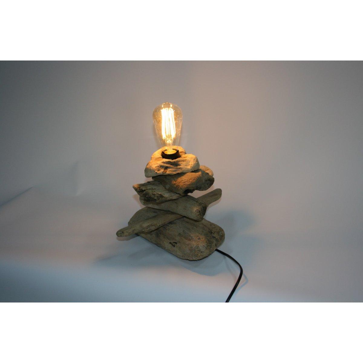 lampade Legno Mare piccola e media con lampadina Edison ovale e a sfera